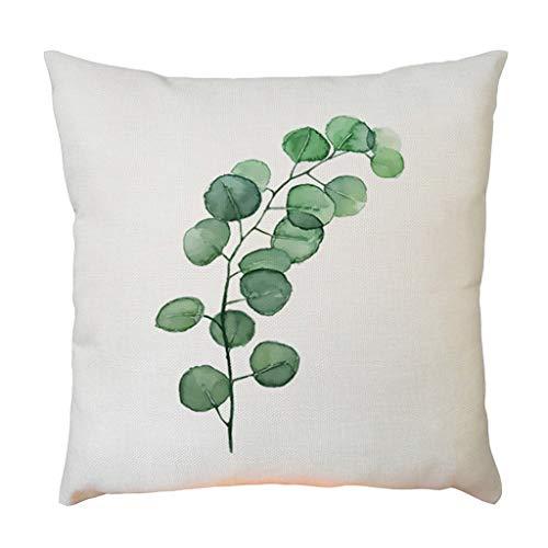 SuperSU Eine Vielzahl von Arten Grünes Blatt Druck Leinen Kissenbezug dekorativen Überwurf Kissenbezüge Set Kissenhülle, quadratisch Kissen für Sofa Schlafzimmer Auto 45 x 45 cm -
