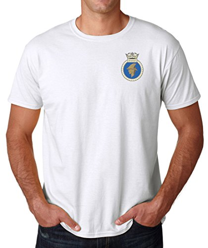 HMS Hermes logo–Ufficiale Royal Navy Ringspun cotone t shirt da militare online White