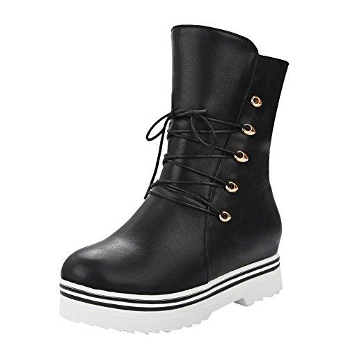 Mee Shoes Damen hidden heels halbschaft mit Schnürsenkel runde Stiefel Schwarz