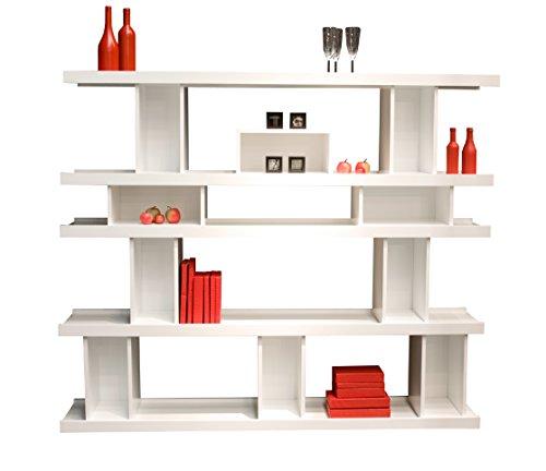 TENZO 6292–001 MODUL Designer Étagère, Bibliothèque, Blanc, Panneaux de Particules laqués, 151 x 180 x 33 cm (HxLxP)