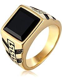 Taizhiwei verde anillos cuarzo granate titanio acero inoxidable anillos talla piedra dorado mujer moteros anillo hombre