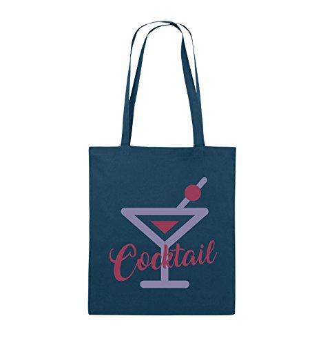 Comedy Bags - Cocktail - GLAS - Jutebeutel - lange Henkel - 38x42cm - Farbe: Schwarz / Weiss-Neongrün Navy / Violet-Fuchsia