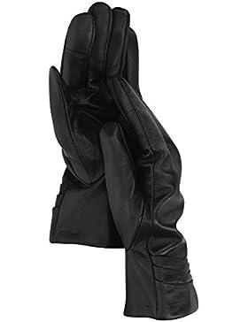 Navaris guantes de cuero napa para mujer - guantes de piel de cordero con cashmere - manoplas de invierno para...