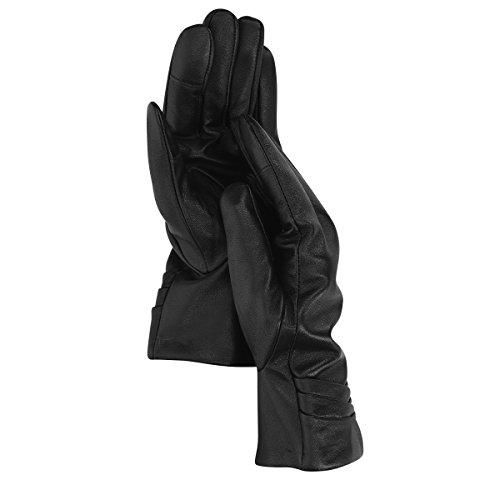 Navaris guantes de cuero napa para mujer - guantes de piel de cordero con cashmere - manoplas de invierno para dama con función táctil en negro