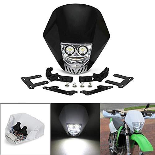 /Blanc Jfgracing universel H3/12/V 35/W halog/ène LED Moto Phare double lumi/ères lampe de t/ête avec LED Lampes tournant pour la salet/é Pit Bike Super motard/