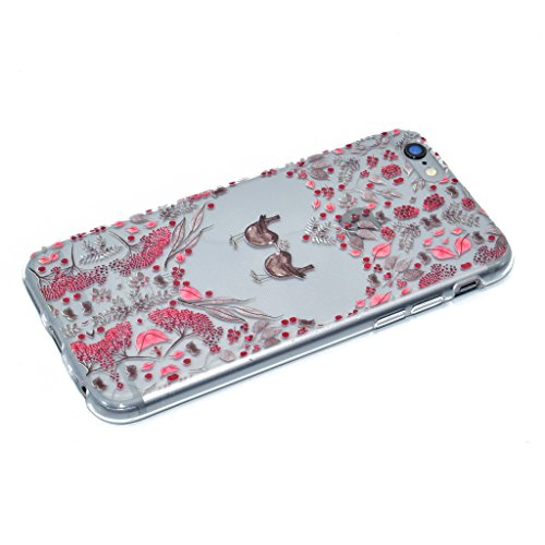 "Coque iPhone 6 / 6S , IJIA Ultra-mince Transparent Rouge Blanc Plain Jane Motif Floral TPU Doux Silicone Bumper Case Cover Shell Housse Etui pour Apple iPhone 6 / 6S 4.7"" XX34"