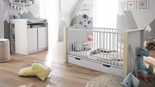 Babyzimmer Kinderzimmer Komplett Set Nandini Set 2 in Weiß matt mit Blenden in Creme Hochglanz
