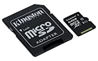 Kingston SDCS/64GB Canvas Select 64 GB microSD Card With SD Adapter Class10 UHS-I U3 Speeds