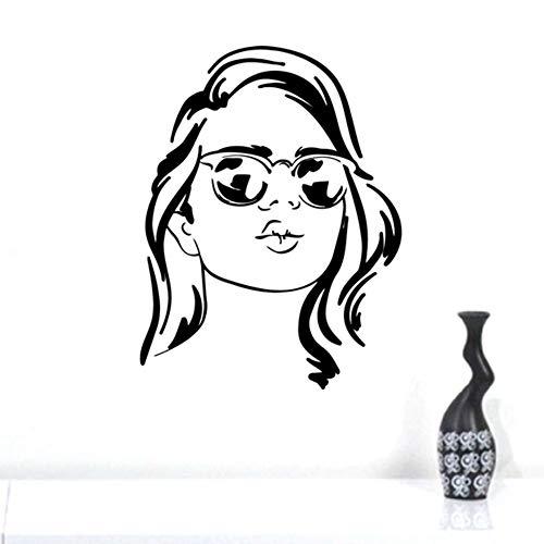 Mode Frau Gesicht Wandtattoo Mädchen Mit Brille Aufkleber Mädchen Wakeup Optische Shop Wanddekoration 52X40 Cm