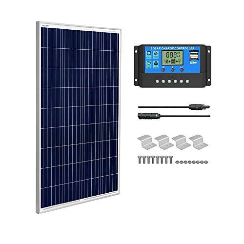SUNGOLDPOWER Polykristallin Solarmodul:100W Polykristallin solarpanel ,Klasse A + 20A LCD PWM Laderegler Solar+ MC4 Verlängerungskabel + Z-Bracket