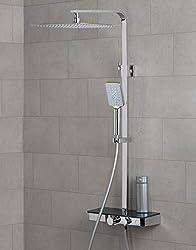 150cm Brauseschlauch Auralum Duschsystem mit schwenkbarer Duscharm f/ür die Wandmontage Badzimmer Duscharmatur inkl