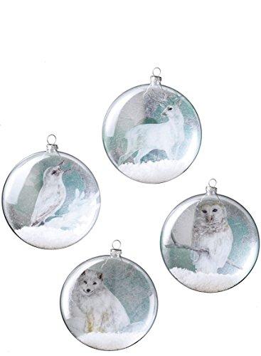 Sullivans bemalt Wald Tiere auf durchsichtiges Glas, gefüllt mit Schnee (8Stück in 4Styles), Teil/grau/türkis, 12,7cm je