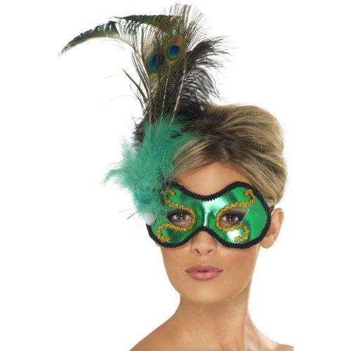 Halloween Karneval Augenmaske Smaragd Pfau mit Federn zum Kostüm
