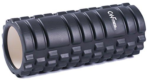 Rodillo de Espuma Foam Roller para Músculos y Masajes de Tejidos Profundos Perfecto para aliviar el dolor Pilates Yoga y Gimnasio Ligero 33cm x 14cm CM Fitness (Negro)