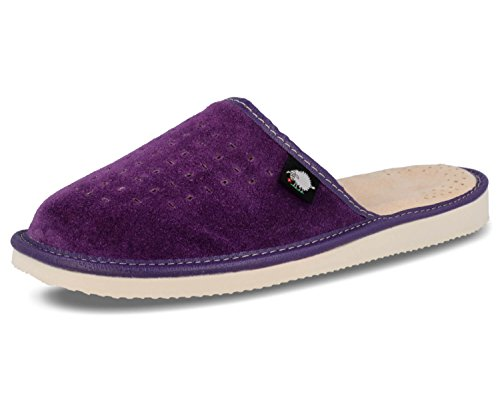 Suede Womens Slippers with Orthopeadic Insole, Size 4,5,6,7,8 UK (6 UK/39 EU, Purple)
