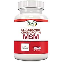 Suplemento de apoyo para las articulaciones con MSM, condroitina y glucosamina Nutriza, 200 cápsulas