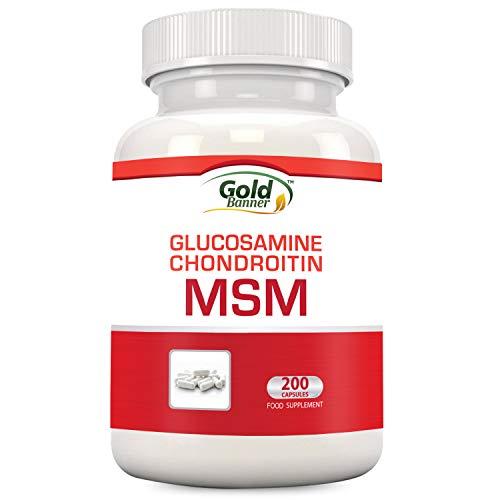 Glucosamine Chondroitin MSM Nahrungsergänzungsmittel zur Unterstützung der Gelenke, 200 Kapseln, Hergestellt in den USA, GMP-zertifizierte Einrichtung, Baut Knorpel auf, Fördert - Gold Banner