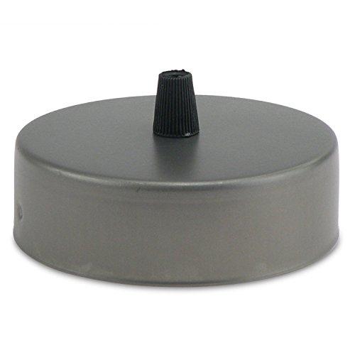 Lampen Baldachin aus Edelstahl grau Ø 10 × H 3,1 cm - Abdeckung für Hängelampen und Befestigungsmaterial