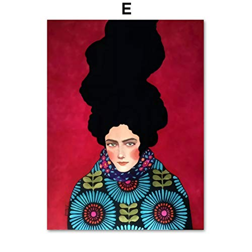 XWArtpic Pittura a Olio Moderna Moda Vintage Donna Trucco Bellezza Barbiere Modello Wall Art Canvas Pittura Nordic Poster E Stampe Immagini A Parete per Soggiorno Decor 60 * 80 cm