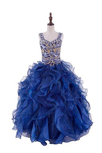 TuanYuan Mädchen Perlen Navy blau Paillette Party Ballkleider