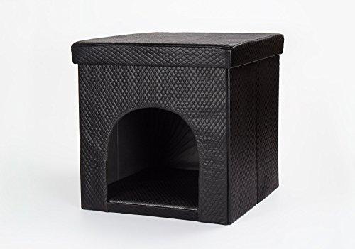 Hundehöhle und Hocker, Kunstleder schwarz, gesteppte Optik, Hundehaus, Tierhaus