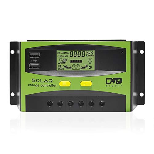 Signstek Solarladeregler Solar Panel Batterie - LS-30A Solar Ladegerät Tracer Intelligenter Regler mit Dual USB Port PWM LCD Display 12 V / 24 V 30a Panel