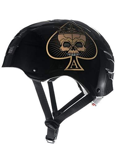 SkullCap® BMX Helm - Skaterhelm - Fahrradhelm - Herren Damen Jungs & Kinderhelm, schwarz, Gr. M (55 - 58 cm), Ace of Spades