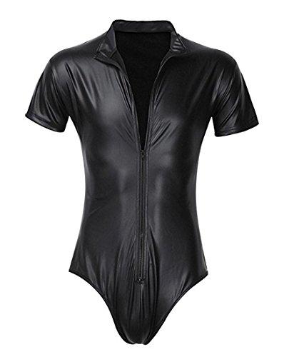 DuuoZy Männer Sexy schwarz Kunstleder Reißverschluss vorne Bodysuit Wet Look Vereinabnutzung , black , s
