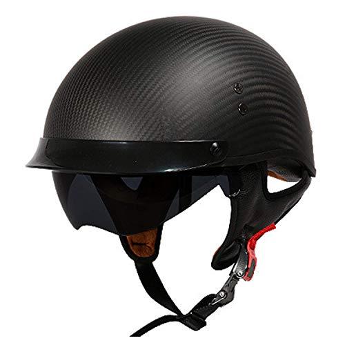 Sunzy Casco da Moto Harley, Casco da Monopattino Unisex Leggero in Fibra di Carbonio per Adulti, Approvato DOT/ECE,A,L
