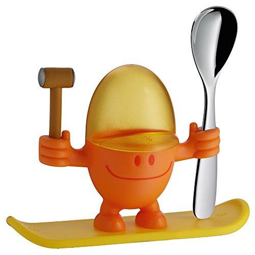 WMF McEgg Eierbecher, mit Löffel, Kunststoff, Cromargan Edelstahl poliert, spülmaschinengeeignet, H 11 cm, orange