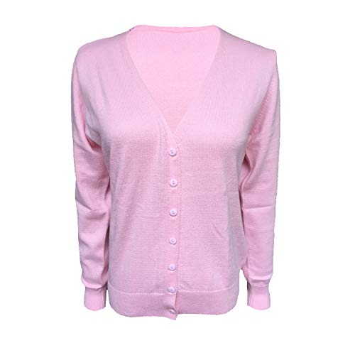 HIDOUYAL Ladies Long Sleeve Cardigan with Knopf (Hell Pink, XXL) -