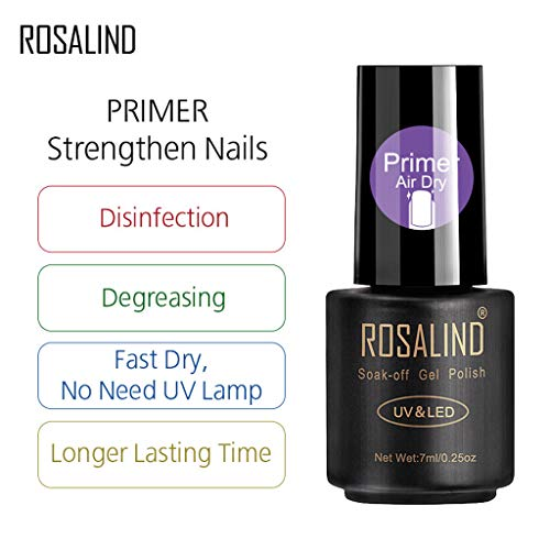 Les vernis à ongles en gel ROSALIND absorbent les lampes à séchage à l'air LED avec apprêt à ongles renforcent l'ongle