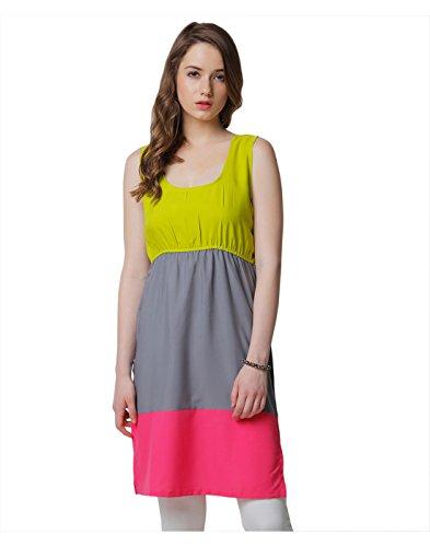Yepme Women's Lime Green, Grey & Pink Synthetic Kurtis - YPMKURT1238_L