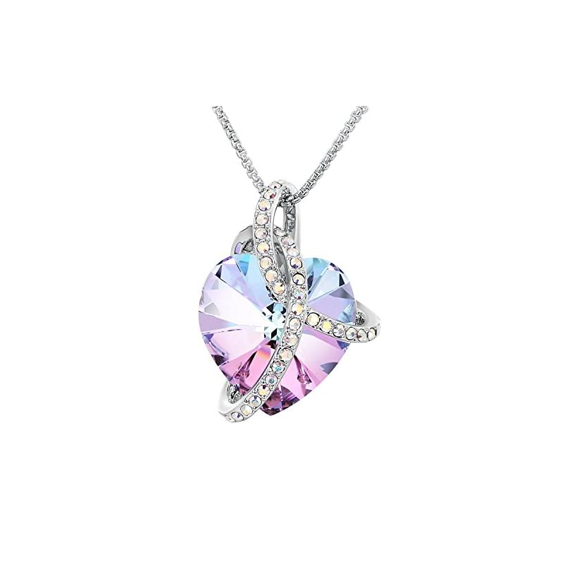 "Adan Banfi ""Courageous Heart"" Pinkish and Ocean Blue Noble Heart Pendant Necklace Jewelry with Crystals from Austria 18"". Best Gifts"