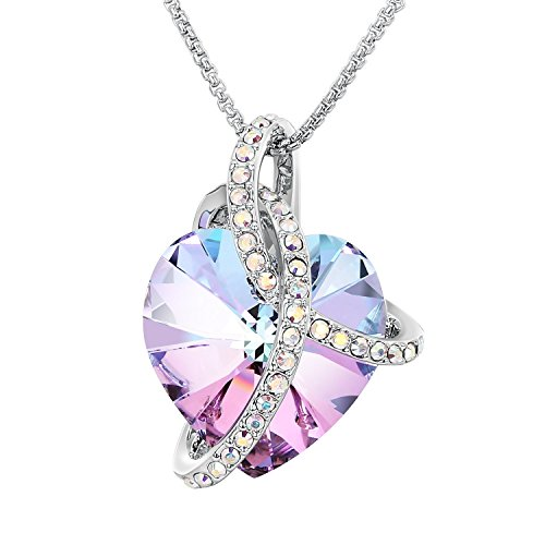 "- 41DJgp7E vL - Sue's Secret ""Courageous Heart"" Gradient Purple Noble Heart Pendant Necklace with Crystals from Swarovski."