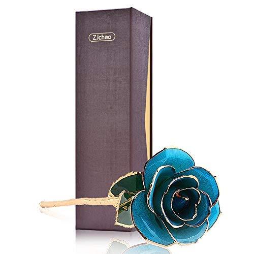 Vergoldete Rose, 24 kt, langer Stiel, zugeschnittene Folie, für Küche/Heimdeko/Valentinstag/Jahrestag hellblau