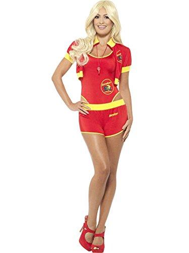 Baywatch Rettungsschwimmer Kostüm, Badeanzug, kurze Hose, Jacke und Pfeife, Größe: 36-38 (Baywatch Rettungsschwimmer Kostüm Damen)
