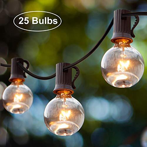 Lichterkette Außen Wasserdicht, iKALULA 25er Lichter Kette 25 Fuß/7,6 Meter G40 Deko Schnur Lichter Innenbeleuchtung Außenbeleuchtung Partylichterkette für Zuhause Weihnachten Indoor Gärten - Warmweiß