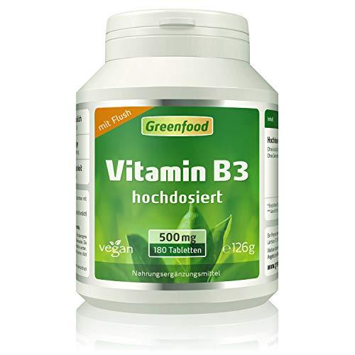 Greenfood Vitamin B3 Niacin (mit Flush!), 500 mg, hochdosiert, 180 Tabletten, vegan - das Glücks-Vitamin, fördert die Durchblutung. OHNE künstliche Zusätze. Ohne Gentechnik.