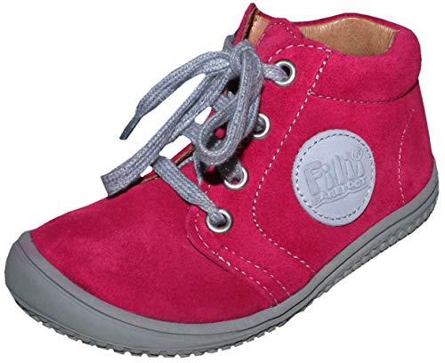 Filii Barfußschuhe mit Lederfutter, weich & flexibel Barefoot in Pink Velours Gecko Schnürer (23 EU)