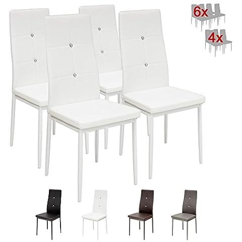 Albatros 3095 Diamond Lot de 4 chaises, blanc, SGS tested