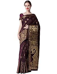 Makeway Brown Bollywood Jaquard Art Silk Saree (350-A)