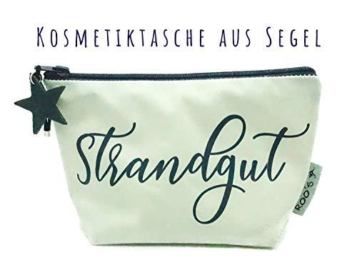 """Kosmetiktasche\""""Strandgut\"""" ★ Recyceltes Segel mit Lederstern ★ Kulturbeutel ★ Schminktasche ★ Weiß mit blau ★ Individualisierbar"""