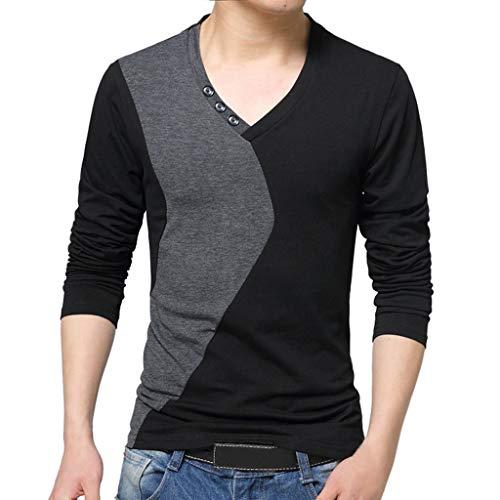 (SEWORLD Herren Hemd Herren New Stehkragen Langarm T-Shirt Reine Top Bluse Shirts Slim Fit Bügelleicht Für Anzug, Business, Hochzeit, Freizeit Langarm Hemd für Männer(X2-schwarz,EU-46/CN-M))