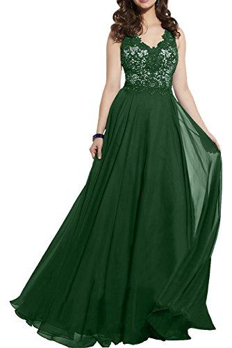 Milano Bride Elegant Royal Blau Abendkleider Partykleider Promkleider Cocktailkleider Bodenlang mit Spitze Dunkel Gruen