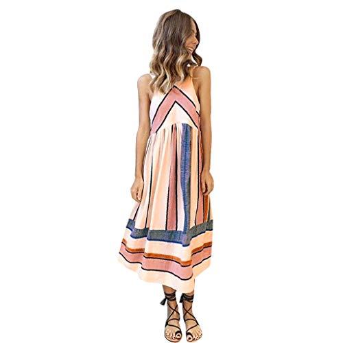 Loses Kleid Der Damenmode Sommer Gestreiftes Kleid Damen Kleid Dress Sommerkleid Strandkleid Jerseykleid Freizeitkleid S-XL (S) ()