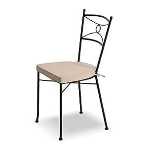 Sedia in ferro marrone H91cm con cuscino beige incluso arredamento esterno casa 06463