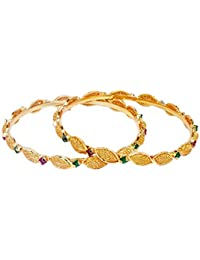 Micro Gold Plated Stone Studded Bangles /Kada With Ruby And Emerald Stones For Wedding Festival For Girls And...