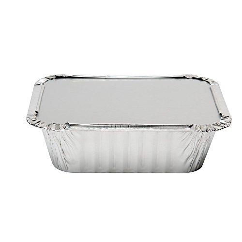 Amtsheftung Heavy Duty Einweg Aluminium länglich Folie Pfannen mit Deckel | 100% Recyclingfähig Dose Lebensmittel, | Extra Stabil Container für Kochen, Backen, Essen Prep, Takeout 1Lb 6x 5x 2 (Prep Kühlschrank Tisch)
