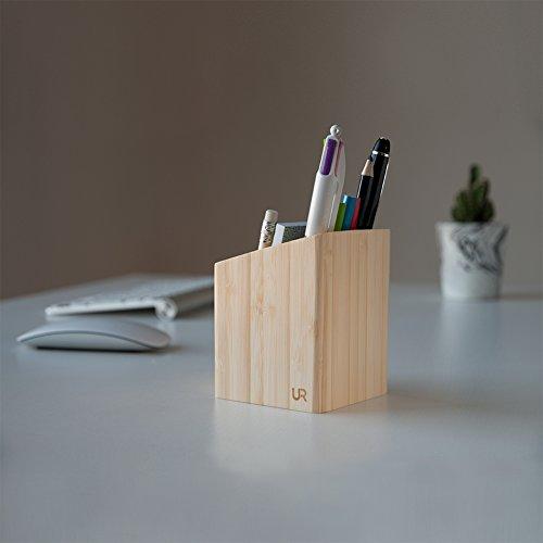 Stylish Pen Pot Holder for Desk ✮ High-Quality & Smooth Desk Organiser ✮ Wooden Stationery Holder Bamboo, School Stationery Box, Office Desk Tidy Organizer Set, Cool Pencil Case, Accessories Women Men